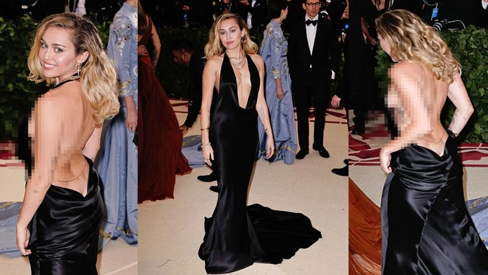 Miley Cyrus goes braless and has an 'oops' moment in a low cut backless gown. Take a look
