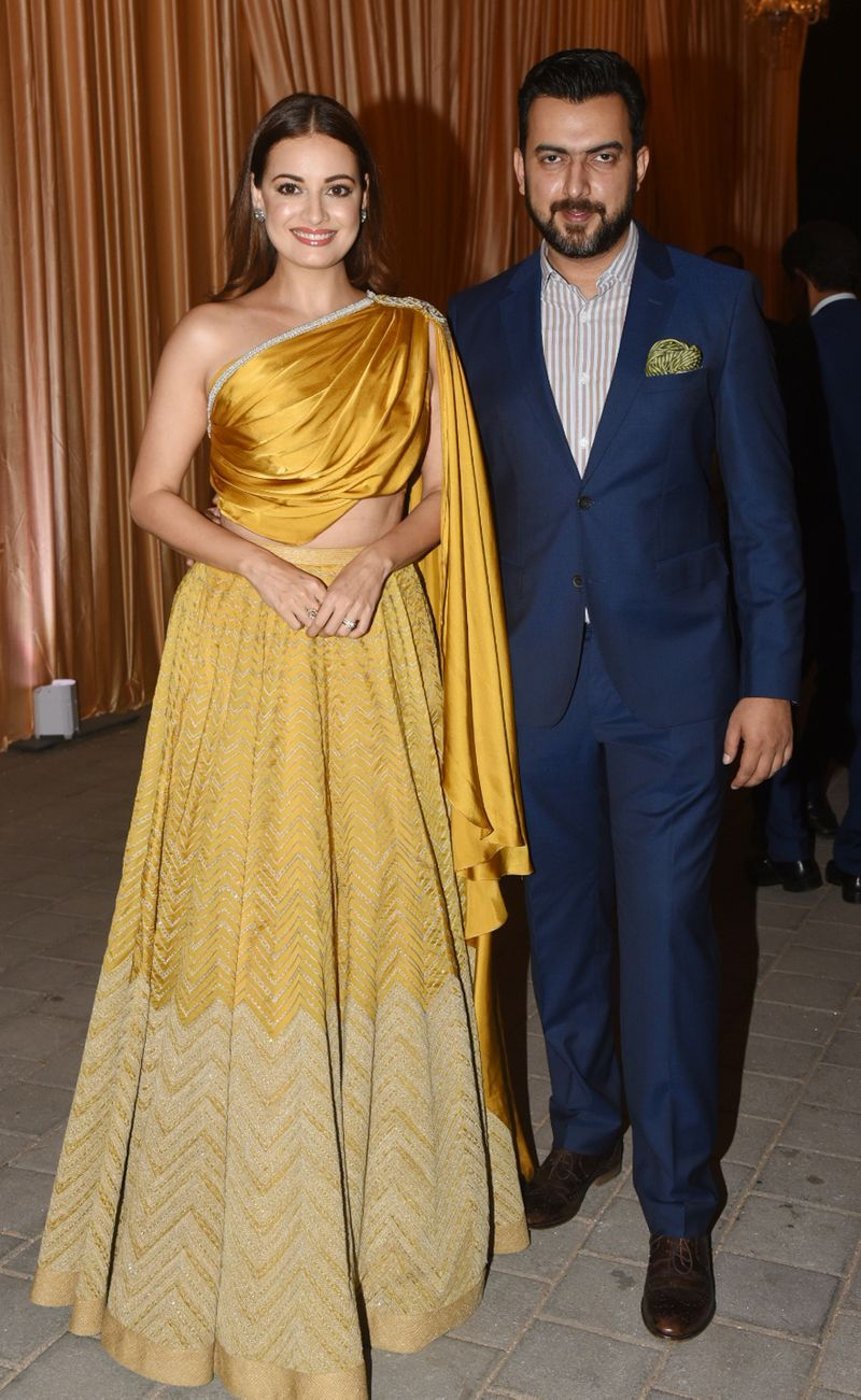 Dia Mirza and husband Sahil Sangha strike a pose in style at Jio Gardens in Mumbai.
