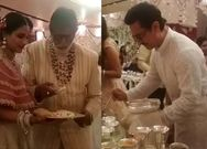 Amitabh Bachchan Aamir Khan serve food at Isha Ambani's wedding