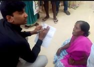Sub Collector HM Dhyanachandra collets petition from Handicapped lady