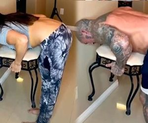 Chair challenge' has couples in hysterics as women easily complete the task - but men can't do it
