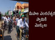 Farmers went on rally with bikes and tractors to temple for worship
