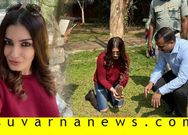 Bollywood actress Raveena Tondon visits Nagarahole and sapling trees