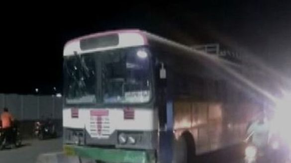 a man took govt bus to go his home and stoped it on the road in telangana