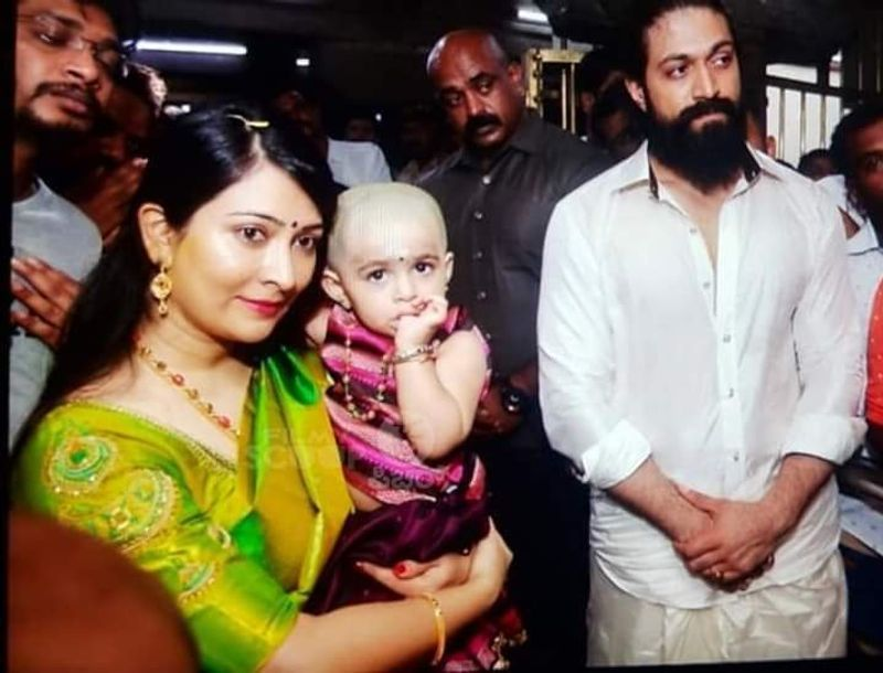 Yash was seen sporting traditional, white shirt and dhoti and wife Radhika was seen in a green saree.