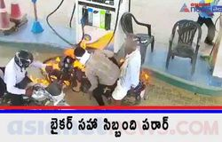 <p>Fire at a Fuel station in Armoor town timely extinguished by workers<br /> </p>