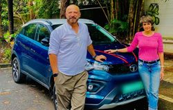 <p>fashion designer, and a television presenter has recently bought a brand-new Tata Nexon EV. Mandira Bedi along with her husband were snapped with her latest possession.</p>