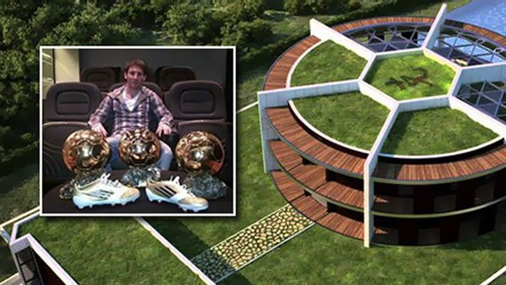 Do you know Leo Messi lives in a footballshaped mansion