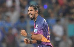 Rising Pune Supergiants's Ishant Sharma celebrates the wicket of Mumbai Indians's batsman Rohit Sharma during the IPL 2016  in Mumbai on Saturday. PTI Photo